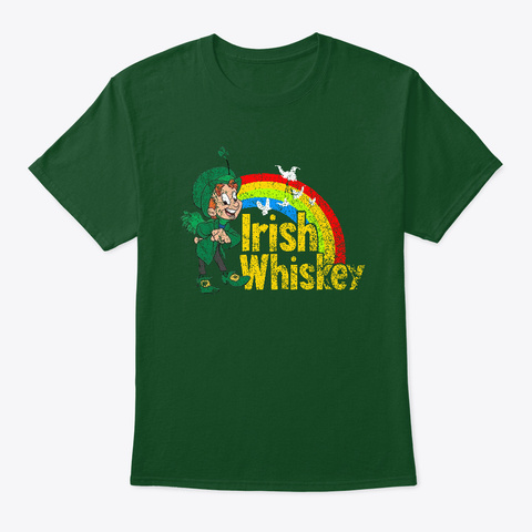 Lucky Irish Whiskey Deep Forest T-Shirt Front