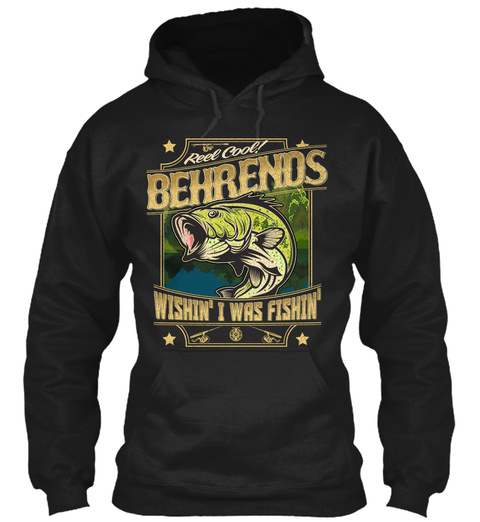 Behrends Fishing Gift Black T-Shirt Front