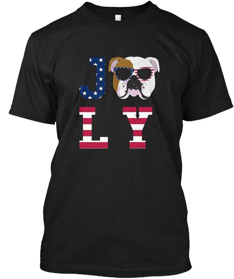 4th Of July   Bulldog American Flag Dog Black T-Shirt Front