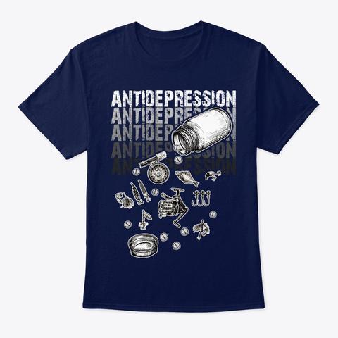 Fish Antidepression Navy T-Shirt Front