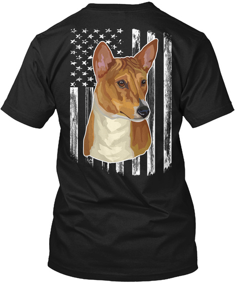 American Flag Basenji 4th Of July Shirt Black T-Shirt Back
