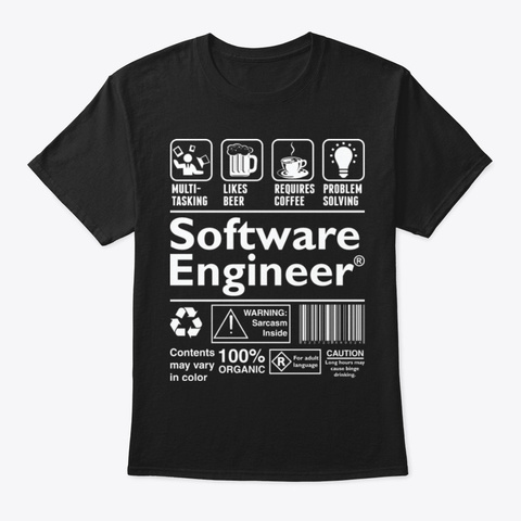Software Engineer Black T-Shirt Front