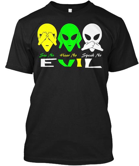 See No Hear No Speak No Evil Black T-Shirt Front