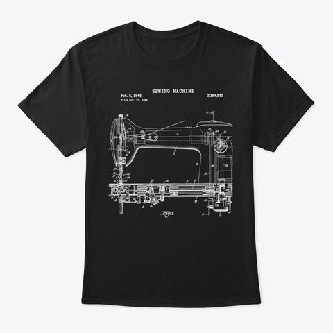 Vintage Sewing Machine Blueprint Black T-Shirt Front