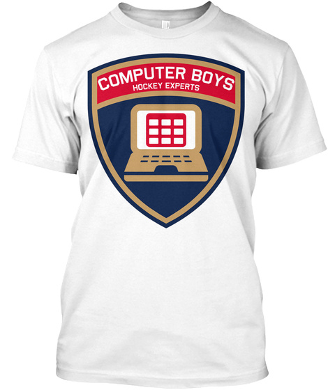 Computer Boys Hockey Experts White T-Shirt Front