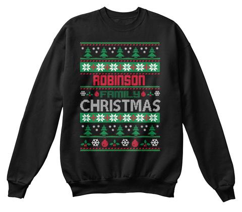 Robinson Family Christmas Black T-Shirt Front