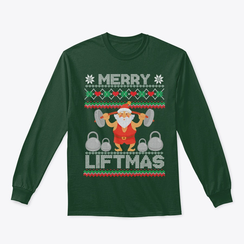 Merry Christmas Santa Lifting Weights Forest Green T-Shirt Front
