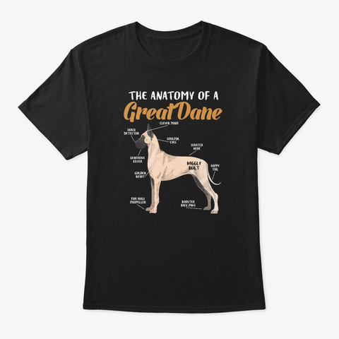 Great Dane Dog Lovers. Black T-Shirt Front