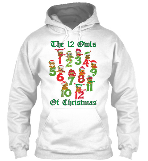 The 12 Owls  Of Christmas White T-Shirt Front