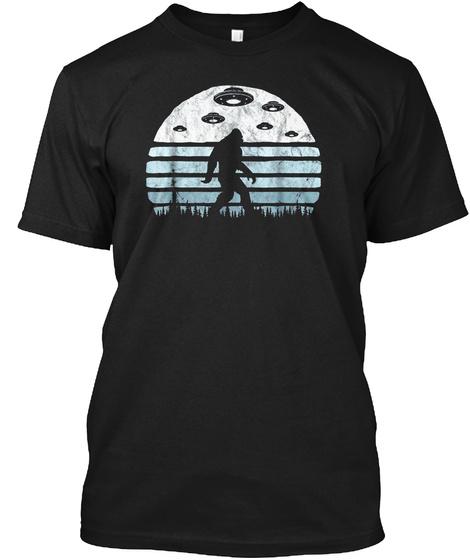 Bigfoot Ufo Abduction   Vintage Believe  Black T-Shirt Front