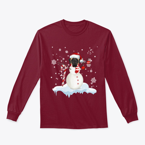 English Mastiff Snowman Dancing On Snow  Cardinal Red T-Shirt Front
