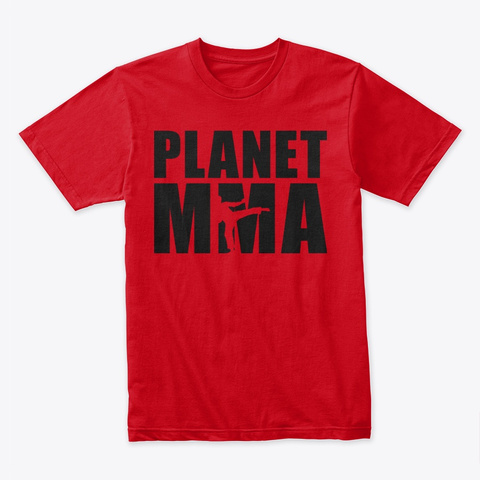 Planet Mma Stacked Logo Black Red T-Shirt Front
