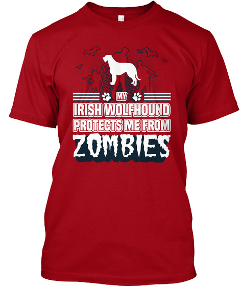 Irish Wolfhound Deep Red T-Shirt Front