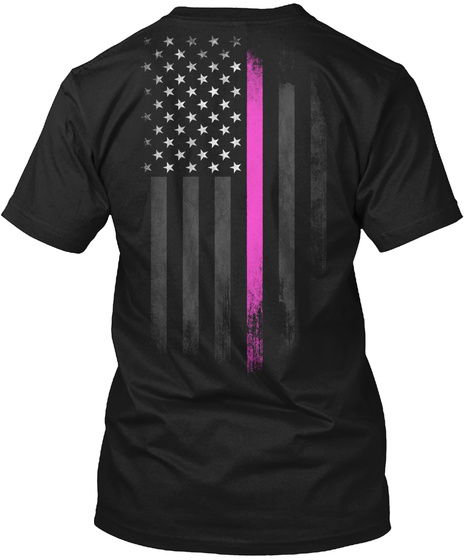 Palm Family Breast Cancer Awareness Black T-Shirt Back