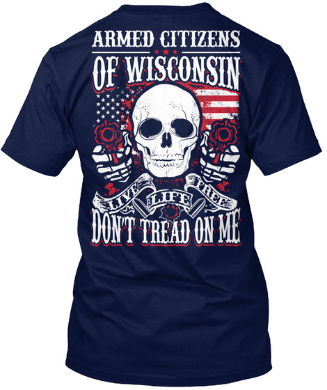 Armed Citizens Of Wisconsin Navy T-Shirt Back