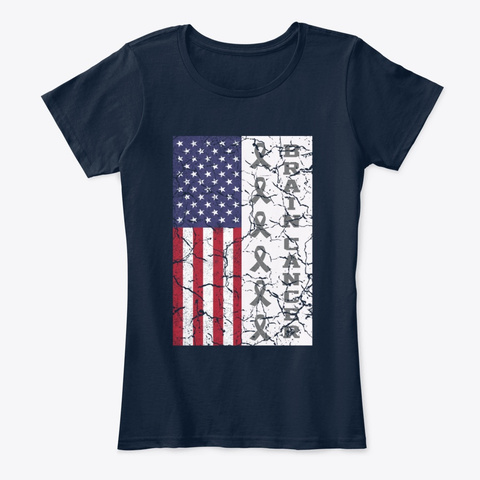 Brain Cancer Ribbon America Flag New Navy T-Shirt Front