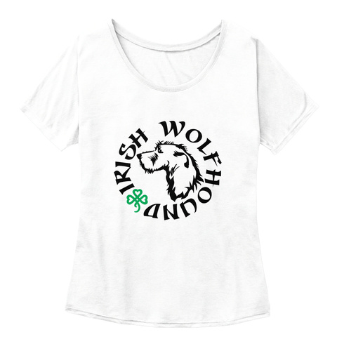 Wolfhound Irish White  T-Shirt Front