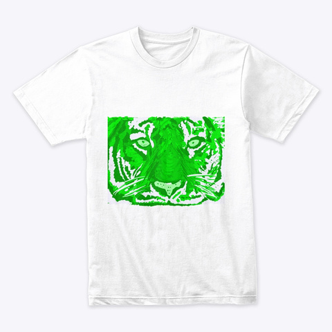 Tiger In Green White T-Shirt Front