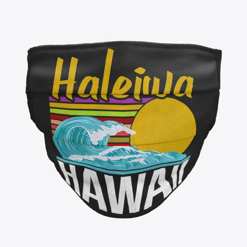 Haleiwa Hawaii Mask Official Black T-Shirt Front
