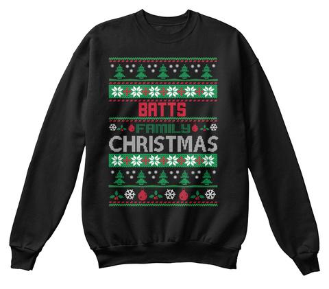 Batts Family Christmas Black T-Shirt Front
