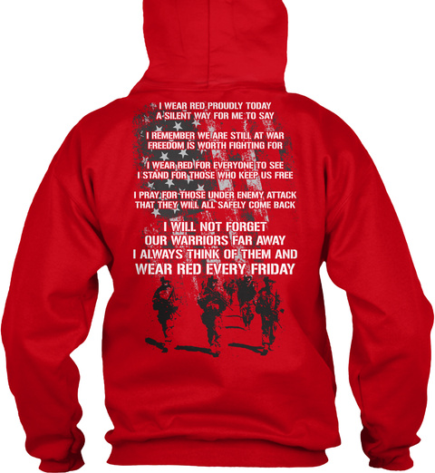 Red Friday Hoodie! Red T-Shirt Back