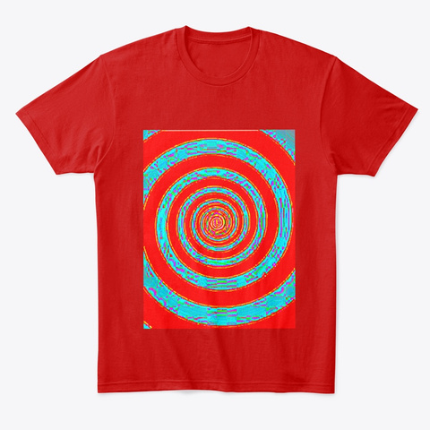 Red & Light Blue Hypnotic Trance Spiral Classic Red T-Shirt Front