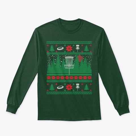 Christmas Disc Golf Frisbee Frolf Ugly Forest Green T-Shirt Front