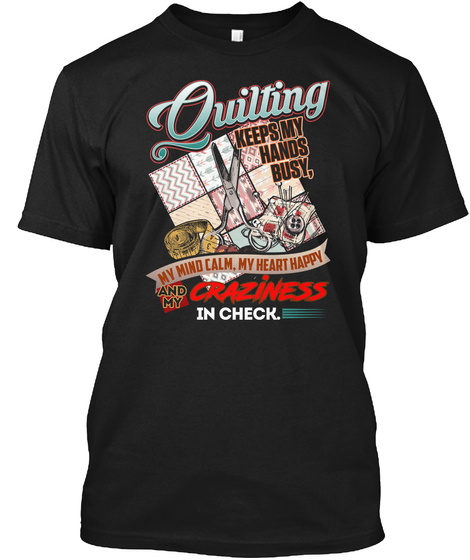 Quilting   Awesome Side Effects! Black T-Shirt Front