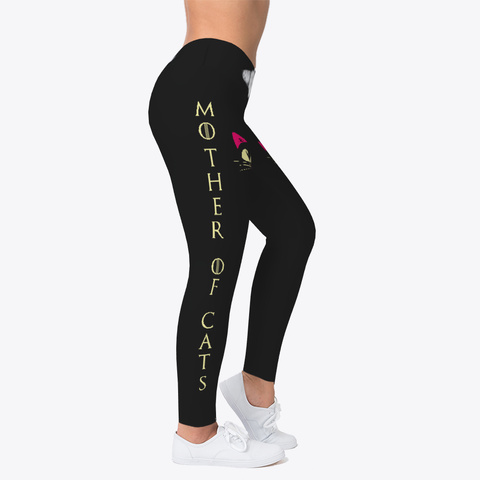 Mother Of Cats   Yoga Leggings Black T-Shirt Right