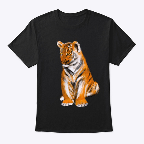 Baby Tiger Black T-Shirt Front
