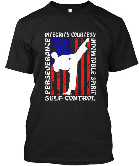 Integrity Courtesy Perseverance Self Control Indomitable Spirit Black T-Shirt Front