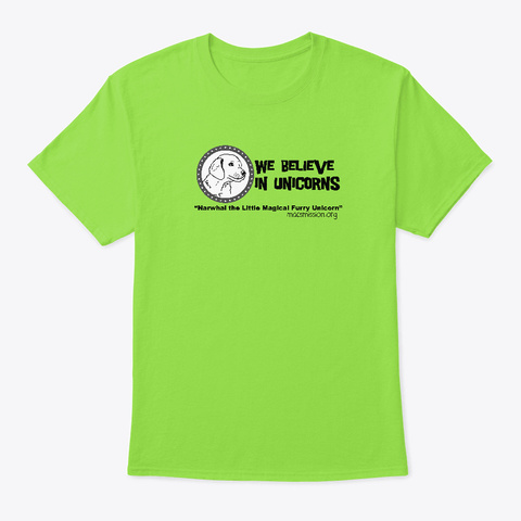 Narwhal The Little Magical Furry Unicorn Lime T-Shirt Front