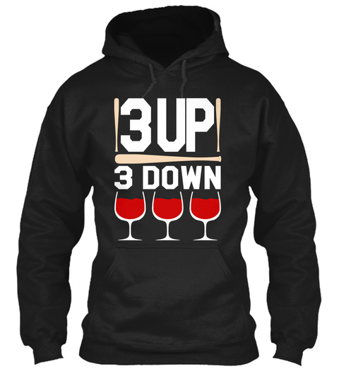 3 Up 3 Down Black T-Shirt Front