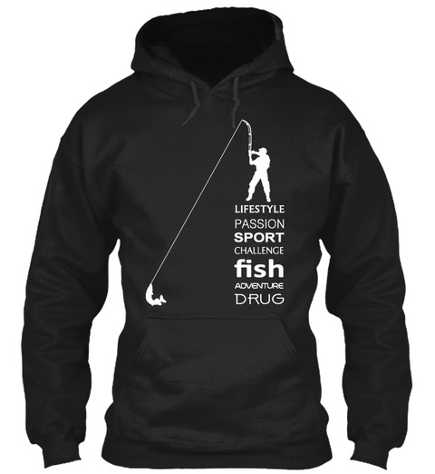 Awesome Fisherman Hoodies Black T-Shirt Front