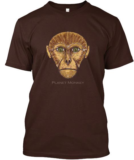 Observe   Planet Monkey Dark Chocolate T-Shirt Front