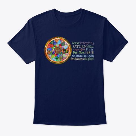Capricorn Astrology Mandala Shirt Navy T-Shirt Front
