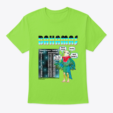 Bahamas Bedtime Bedwear Lime T-Shirt Front