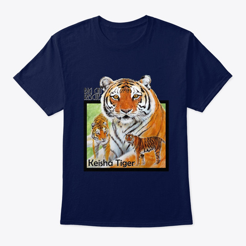 Keisha Tiger Fighting Spirit Navy T-Shirt Front