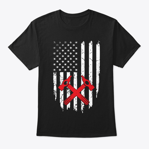 Roofer American Flag 4th Of July T Shirt Black T-Shirt Front