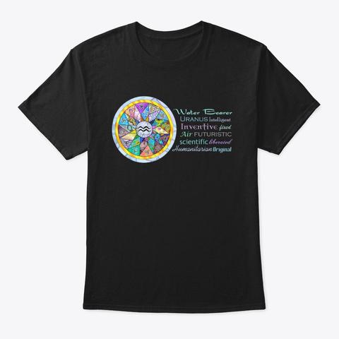 Aquarius Astrology Mandala Shirt Black T-Shirt Front