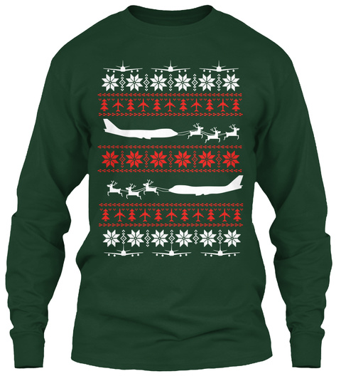 Ultimate 747 Christmas Shirt! Forest Green Long Sleeve T-Shirt Front