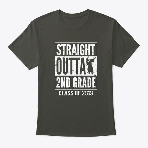 Straight Outta 2nd Grade Graduation 2019 Smoke Gray T-Shirt Front