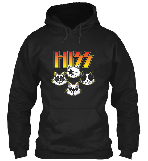 Hiss Kiss Cats Kittens Rock N Roll T Shi Black T-Shirt Front