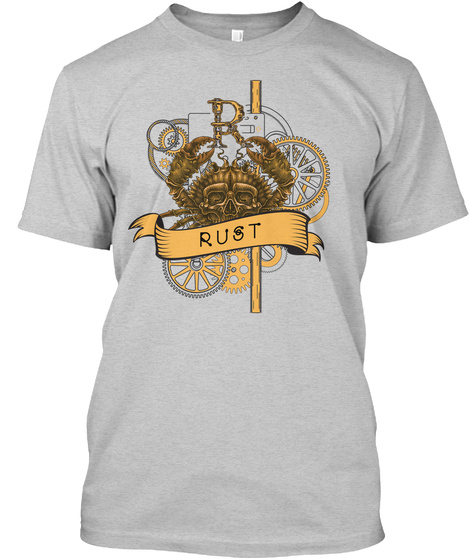Rust Programming Print From Cards (Eu) Light Steel T-Shirt Front