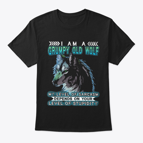 Grumpy Old Wolf Black T-Shirt Front