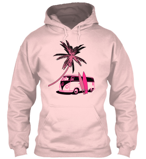 Vintage Van And Palm Surfer Girl Light Pink Sweatshirt Front