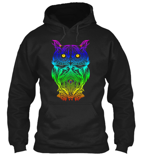 Hoodie Psychedelic Retro Hippie Owl  Black T-Shirt Front