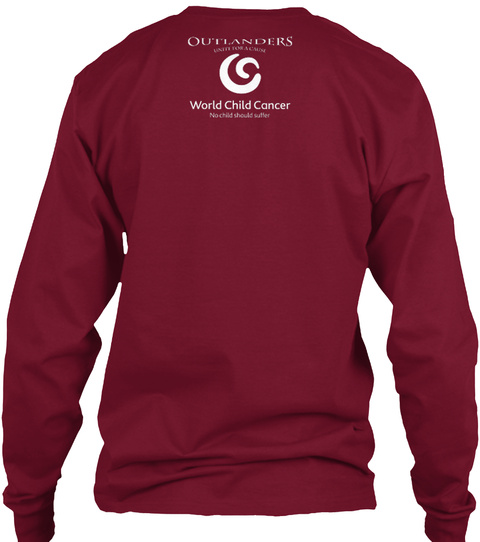 Outlanders World Child Cancer Cardinal Red Long Sleeve T-Shirt Back