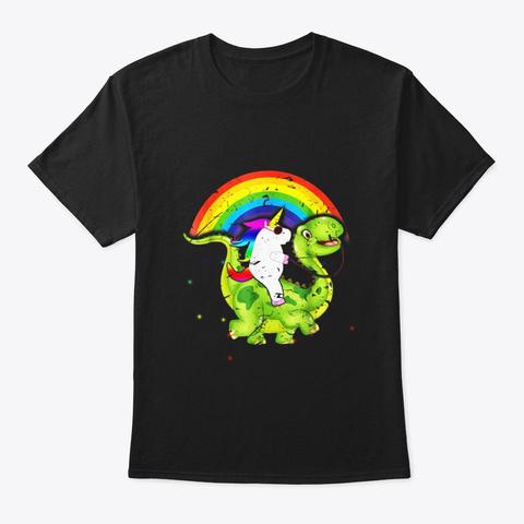 Unicorn Riding Dinosaurs Sunglasses Black T-Shirt Front