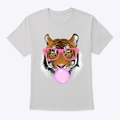 Cute Bubblegum Tiger Exotic Animal  Light Steel T-Shirt Front